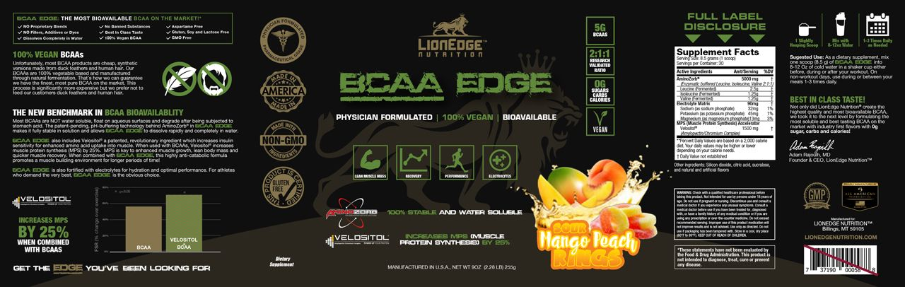 Sour Mango Peach Rings BCAA Edge Product Label