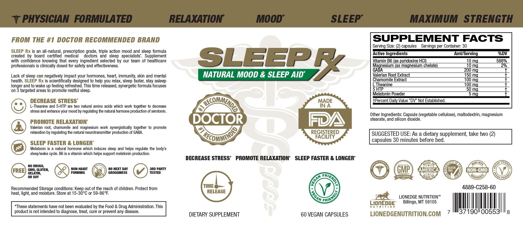 Sleep Rx Product Label